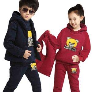 Marque Boy Filles Vêtements garçon Gros Sweats à capuche + Pantalon + Gilet Set Christmas Girls Outfit Enfants Set d'hiver Boy Sweat Costumes T191101