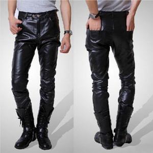 Мужские узкие кожаные байкерские брюки с высокой талией из искусственной кожи, длинные брюки для мужчин