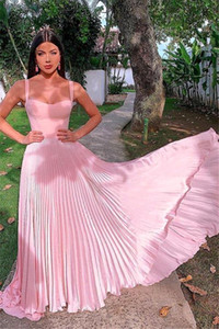 2020 Chiffon Evening Dresses Pink Spaghetti Strap Pleated Party Dress Dubai Lebanon A Line Formal Prom Dress