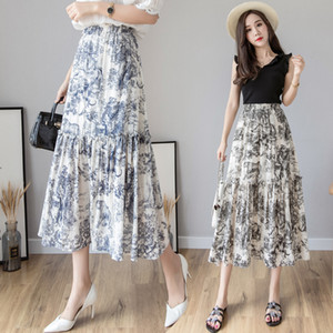 Gonna lunga da donna estate 2019 Gonna lunga di lusso Stampa animalier vintage Gonna a pieghe a vita alta Fashion Designer Party Maxi Skirt MX190730