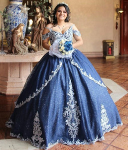 Lace Beaded Navy Blue Quinceanera Prom Dresses Ball Gown Sparkly Spaghetti Evening Party Sweet 16 Dress ZJ124