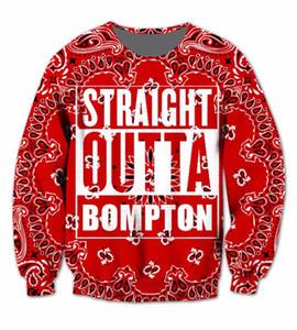 Taille réelle USA 3D impression Sublimation ras du cou Sweat rouge Bandana Straight Outta - Compton Californie streetwear