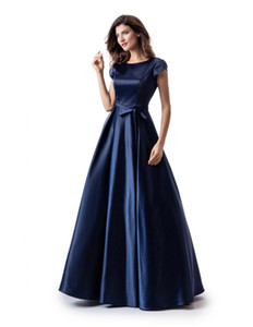 Navy Blue A-line Long Modest Prom Dress With Cap Sleeves Simple Jewel Neck Floor Length Teens Formal Evening Party Dress Modest