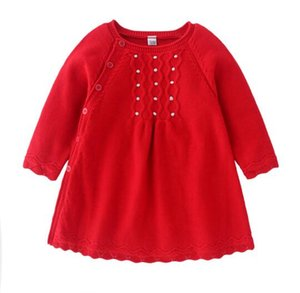 Ins New layette Lolita Robe en maille rouge fille automne printemps Vêtements Robe