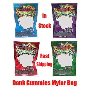 Dank Gummies Mylar Bag Edibles Retail Zip Lock Packaging Worms 500MG Bears Cubes Gummy for Dry Herb Tobacco Flower Vape Many In Stock