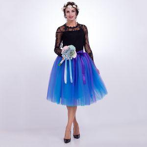 7 strati Midi gonne di tulle moda donna pieghettato gonna tutu elegante matrimonio vintage lolita petticoat faldas mujer saias jupe Y190428