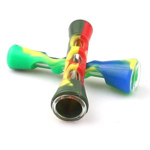 Silicone Smoke Pipe Portable Straight Type Smoking Pipes Multi Colors Glass Material Smokes Accessories New Arrival 3 4jr L1