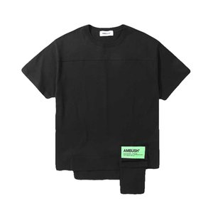 Hombre de las camisetas EMBOSCADA Patch empalme asimétrico Hem se pueden almacenar Hip Calle Rap camiseta de manga corta Hop camiseta Ropa Casual