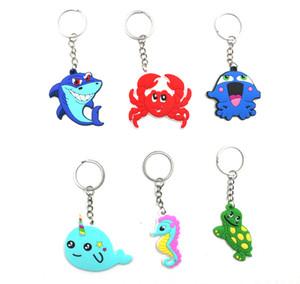 2019 Marine Fish PVC Keychain Bag Keyring cartoon Pendant Purse Handbag Key Chains Holder Car Key Rings