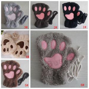 Luvas garra Paw Plush Mittens Curto Fingerless Meia Luvas pata do gato da garra de urso de pelúcia Meio dedo de luva macio cobrir metade do Glove DBC BH2886