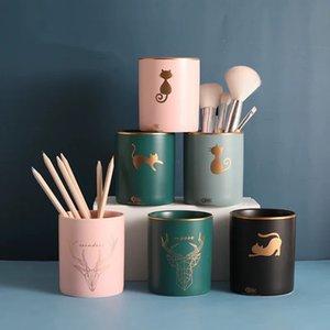 Nordic Style Storage Tank Ceramic Jar Cosmetic Brush Pen Holder Knife Struck Storage