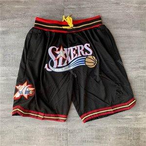 Mens DON JUSTO bolsillo cosido pantalones cortos de baloncesto 1999-00 Negro Filadelfia bolsillo76ersPantalones cortos forro de malla Deportes bolsillo pantalón