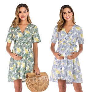 Summer Maternity Dresses For Pregnant Women 2020 Short-sleeved V-neck Floral Printed Chiffon Ladies Bohemian Clothes Plus Size