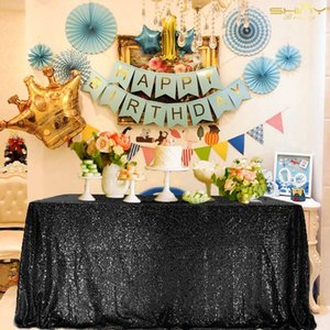 Sequin?Tablecloths?60x102Inch?Black?Table?Cloths?Black Glitter?Tablecloth?for?Birthday Christmas Prom Other Event-M1026 Y200421