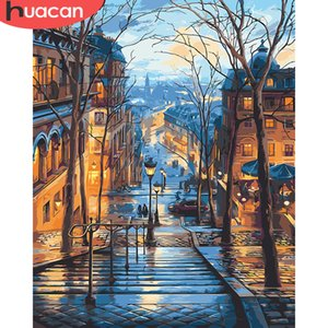 2020 Painting By Numbers Scenery DIY Oil Coloring By Numbers Street Landscape Canvas Paint Art Pictures Home Decor