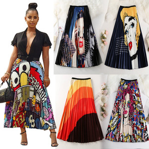 Womens fabbrica all'ingrosso estive Gonne 2020 Print Cartoon modello Empire High elastico donne Midi Gonne Big Swing Party vacanze Metà di-Vitello