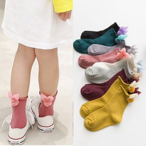 2019 spring new children's socks cute accessories girls in the tube socks roll Luokou cotton loose mouth baby socks