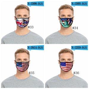 36styles 3D US Flag Mask American Independence Day Maschera maschere antipolvere lavabile 2020 Bocca calotta di protezione Modo GGA3511-1