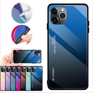 아이폰 (11) 프로 맥스 2019 삼성 갤럭시 노트 10 플러스 S10 화웨이 메이트 (30) 강화 유리로 돌아 가기 케이스 TPU 휴대 전화 커버