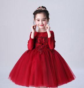 Sweet Wine Applique Beads Knee Girl's Pageant Dresses Flower Girl Dresses Princess Party Dresses Child Skirt Custom Made 2-14 H311157