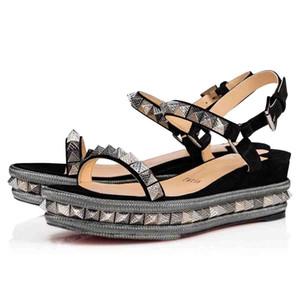 yazlık sandaletler cataclou 60mm luxuious Tasarım bayan kadın dip ayakkabıları rahat Parti Elbise Düğün kırmızı hakiki deri kama sivri çivili