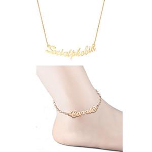 Personalizado Nombre Personalizado Tobilleras Collares de Acero Inoxidable de Color Oro Personalizada A Mano Conjunto de la joyería de la placa de identificación para las mujeres