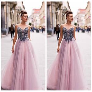 Transparente Perlen Top A-Line Tüll Prom Kleider Empire-Taille Formale Festkleider für besondere Anlässe 2020 Maßgeschneiderte Vestidos De Fiesta European