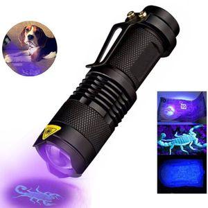 LED UV lanterna ultravioleta Tocha com função Zoom Mini UV Black Light Pet Urine Stains Detector Scorpion Hunting
