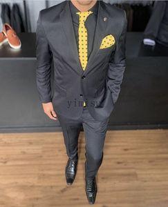 Black men Suits Notched Lapel Two Button Formal Business Suits for Mens Blazer Jacket Men Tuxedos Groom Wedding Suits 2 Piece Coat Pant