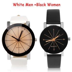 Kadınlar Kuvars Saatler Relogio Masculinos Moda Zaman Erkekler Saat PU Deri Elbise Yuvarlak Kılıf Saat Aşıklar İzle Bayan Kol Saat'in Dial