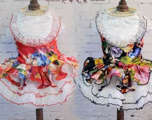 봄과 가을 개 웨딩 드레스 스커트 큰 꽃 애완 동물 의류 1143