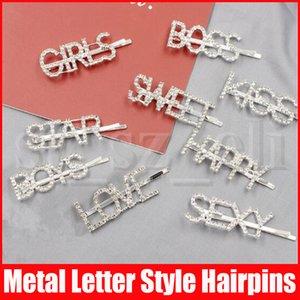 Клипы Женщина Девушка Алмазного письма Волос Кристалл Шпилька Rhinestone девушка Поцелуй Boss Искорка Bling Hairclip волос Accesseries подарки