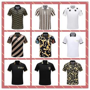 Lüks Tasarımcı Moda Klasik erkek Damalı Şerit 3D Gömlek Pamuk erkek Tasarımcı T-shirt Beyaz Siyah Tasarımcı Polo Gömlek Erkekler # 4800