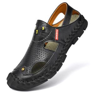 los hombres del estilo de Corea del ocio de tamaño grande sandalias de playa hecha a mano del dedo del pie zapatos de verano al aire libre cubiertas sandali antideslizante Sandales plataforma hombre