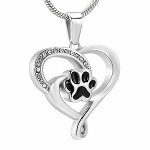 Paw IJD12454 Black Dog In My Heart pendant Cremação para perda de aço inoxidável Ashes Pet Lembrança Colar Pingente Urn Memorial