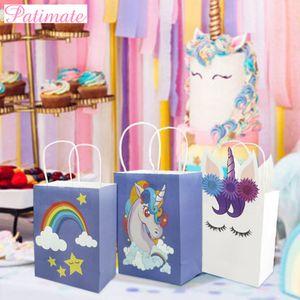PATIMATE Unicornio Box Babyshower Party Papier Cartoon Einhorn Tasche Einhorn Party Decor Gefälligkeiten Liefert Einhorn Geburtstagsfeier
