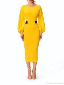 Getäfelten Spalte Kleider Designer-Laterne-Hülsen-Kleid-Frauen-elegante süße Farbe Vintage-Kleider Mode Rundhalsausschnitt Damen