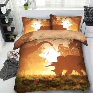 Dinosaurio Colcha Kids cubierta de la cama 3 Piezas muchachos adolescentes lecho de la cubierta del Duvet Con 2 Almohada Shams animal anaranjada Coverlet