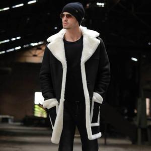 Mens panno morbido di inverno cappotto di lana per gli uomini del rivestimento del cotone della peluche caldo risvolto del cappotto di media lunghezza di Velvet Fashion Trench maschio S-5XL
