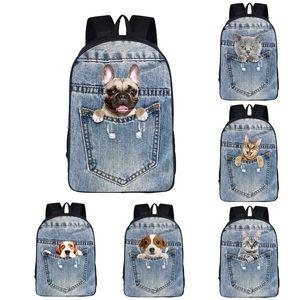 Çocuklar Pet Baskılı Sırt Çantası 8 Tasarım 3D Cep Pet Omuzlar Sırt Çantası Çocuklar Yüksek Kaliteli Dayanıklı 16 inç Giymek Büyük Sırt Çantası Çocuk Schoolbag 06