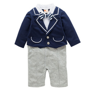 Gentleman Infant Boys Spring Autumn Jumpsuit Clothing Set For Baby Cotton Kids Tops+Winter Pants 2Pcs