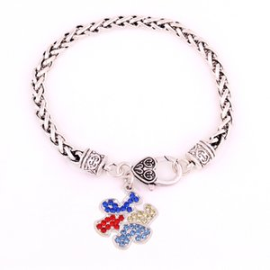 Jigsaw Puzzle Shape Depression Style Sparkling Colorful Crystal Wheat Chain Bracelet Diy Jewelry Making Three Length Dropshipping
