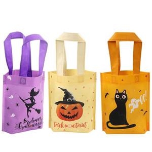6Pcs Halloween Trick or Treat Taschen mit Griff Kürbis-Katze Halloween Candy Bag Sack für Kinder Non-Woven-Geschenk-Beutel