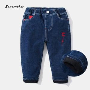 Benemaker Boy Fleece Jeans For Boy Pantaloni autunno Elastico in vita Abbigliamento per bambini Bambino Bambini Pantaloni denim Casual pantaloni caldi Jh143 Y19051103