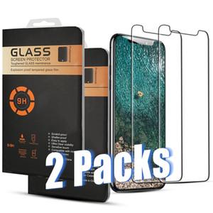 2. Paketleri Temperli iPhone Perakende Box ile 11 Pro Max XR XS 8 7 Artı Samsung A11 A21 A41 A70 MOTO G7 LG Stylus5 Ekran Koruyucu Film