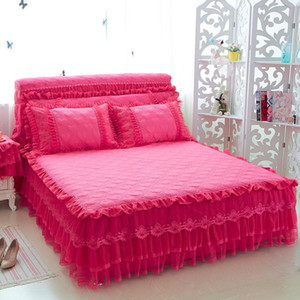 Baumwollspitze Mädchen Princess Bettwäsche-Sets Blau Rosa Beige Lila Bed Rock-Set Bettüberwurf König / Königin / Full Twin-Size-Kissen-