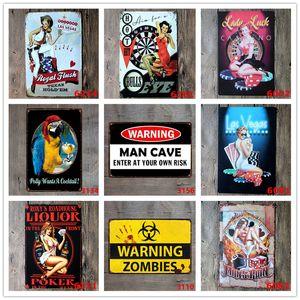 Casino Tin Sign Welcome To Las Vegas com Sexy Lady Bowls Placas de metal para Bar Pub Café Casino Club Wall Art Decor Ferro Pintura Poste
