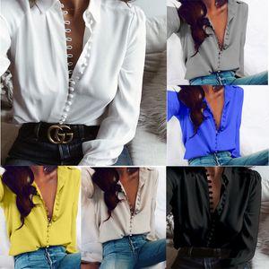 Donne Sexy Estate Autunno solido gira giù del tasto di collare casuale allentata maglietta a manica lunga T-shirt