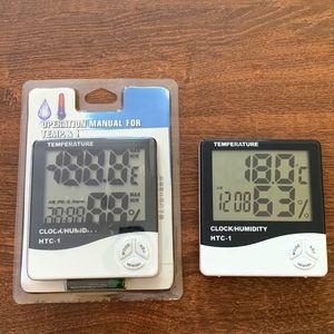 Yukarı Saat Takvim Alarm HTC-1 100 adet Dijital LCD Sıcaklık Higrometre Saat Nem Ölçer Termometre