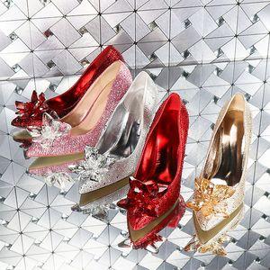 Şampanya Pembe İyi Kalite Külkedisi Kristal 41 Gelinlik Ayakkabı Çiçek Büyük Küçük Boyut 33 ile Gelin elmas Düğün Shoes